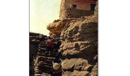Ácoma Pueblo, New Mexico: Village women climbing stairway