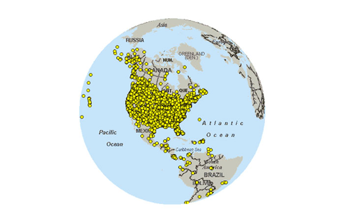 Western Hemisphere locations for the Christmas Bird Count