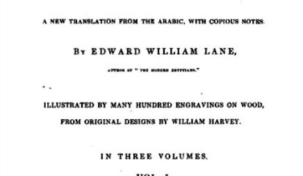 The title page of Edward Lane's influential 1841 translation