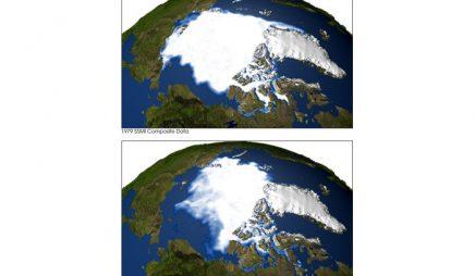 Arctic sea ice coverage, 1979 and 2003