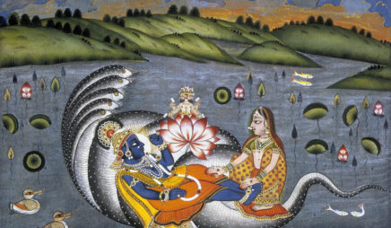 Vishnu Reclining on a Serpent from the Bhagavata Purana